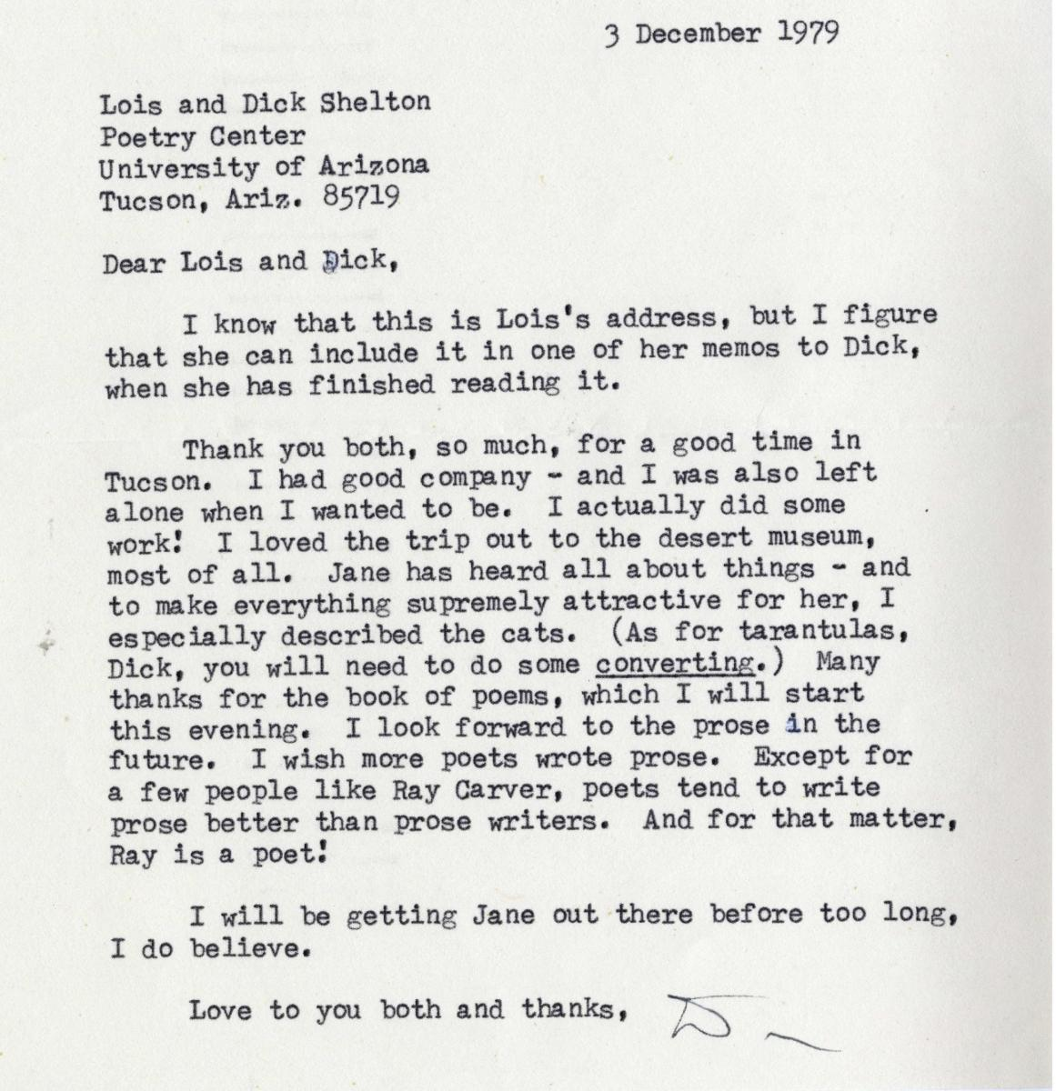 Typed letter from Donald Hall to Lois and Richard Shelton