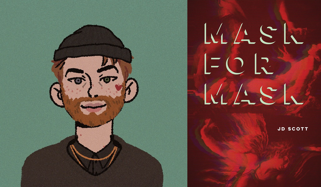 illustration of JD Scott and the cover of Mask for Mask