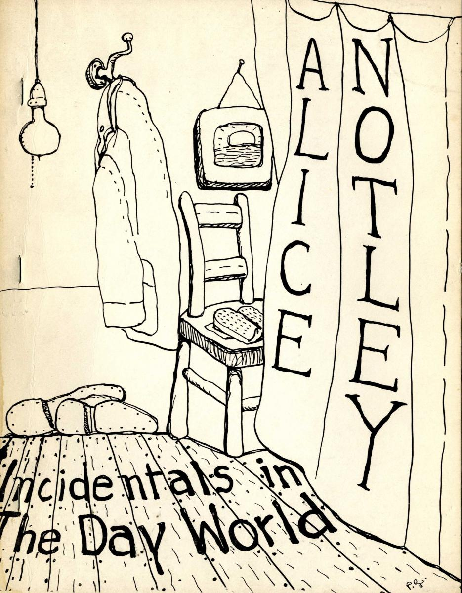 Front cover of Alice Notley's Incidentals in the Day World, with an illustration drawn in black ink.