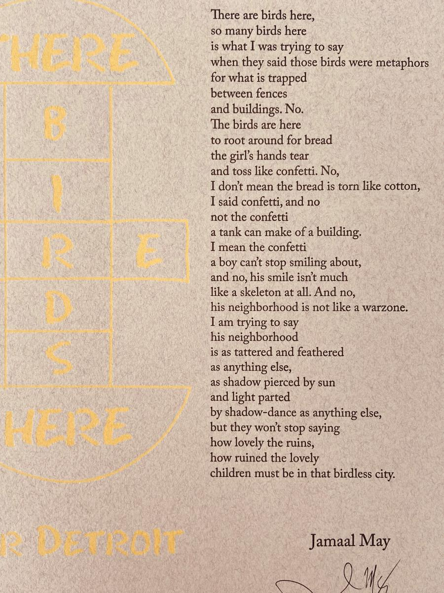 Broadside of Jamaal May's There Are Birds Here: For Detroit