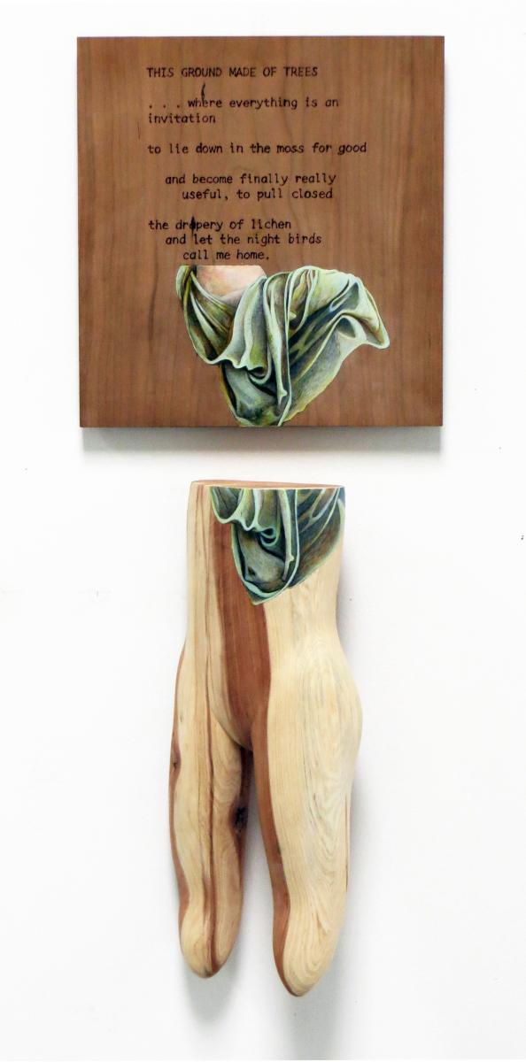 """Wood sculpture of """"This Ground Made of Trees"""""""