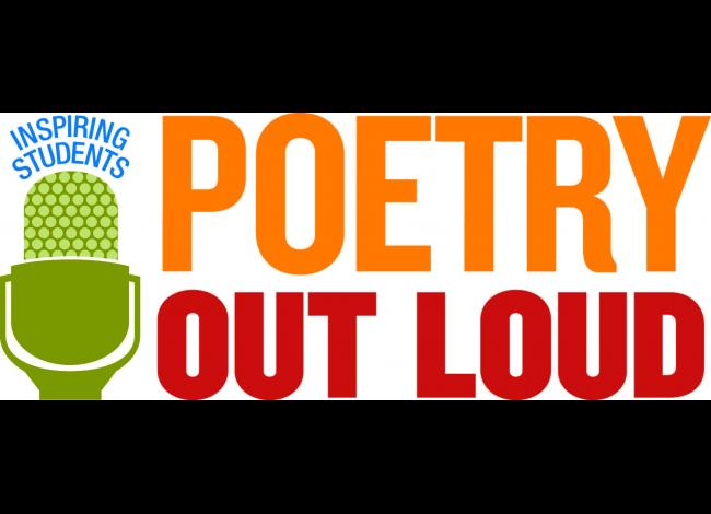 """Poetry Out Loud logo with the phrase """"Inspiring students"""""""